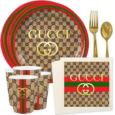 GG Inspired Custom Plates or Cups. Birthday Party Snacks, My Birthday Cake, Sons Birthday, Boy Birthday Parties, Diy Birthday, Birthday Party Decorations, Gucci Cake, Prom Backdrops, Custom Plates