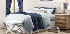 Cool blues and muted sand in the bedroom  Belgian Slope Slipcovered | Restoration Hardware