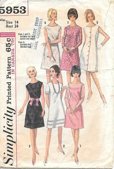 Simplicity 5953 1960s Simple A Line Dress by GrandmaMadeWithLove