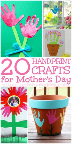 These handprint crafts are the cutest Mothers Day Crafts around! Weve found 20 adorable options to make with the kiddos. Mothers Day Crafts For Kids, Diy Mothers Day Gifts, Diy Gifts, Toddler Crafts, Kids Crafts, Craft Projects, Daycare Crafts, Kids Diy, Decor Crafts