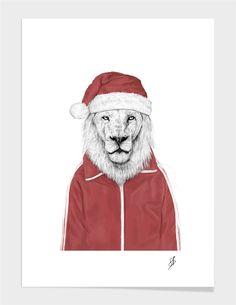 """Santa lion"" - Numbered Art Print by Balázs Solti on Curioos"
