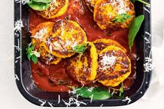 Pumpkin, ricotta and quinoa fritters - 334 Calories 300g butternut pumpkin, peeled and chopped 350g fresh ricotta, crumbled 35g (1/3 cup) quinoa flakes 25g (1/3 cup) finely grated parmesan 1/4 cup finely chopped fresh chives 1 egg, lightly whisked 1 lemon, rind finely grated 2 1/2 tablespoons extra virgin olive oil 3/4 cup fresh basil leaves 1 garlic clove, crushed 700g btl tomato passata 1/2 teaspoon caster sugar Baby spinach leaves, to serve Small basil leaves, to serve Finely gra