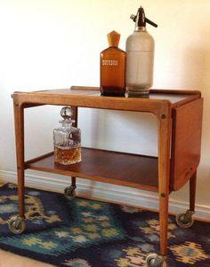 Mid Century Scandinavian Teak Bar Cart Tea Cart