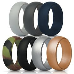 Thunderfit Silicone Rings 7 Pack Wedding Bands For Men 8 Mm Wide Gray Dark
