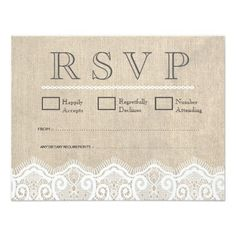 Vintage White Lace & Burlap Wedding RSVP Cards Invites
