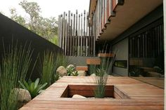 Outdoor balustrade in wood