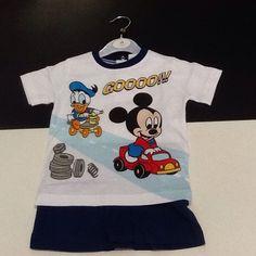 Completo neonato corto bianco e blu Topolino e Paperino taglia 30 mesi Disney