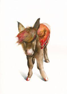 Mule Archival Print, southwestern art , donkey. $40.00, via Etsy.