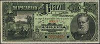 ANVERSO Valor facial: 1000 réis; Ano de emissão: 1888; Órgão emissor: Tesouro Nacional; Empresa impressora: American Bank; Note Company; 7ª Estampa.