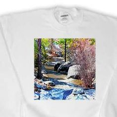 View of River in Pine Valley, Utah Flowing Through Trees and Rocks and Given look of Miniature Sweatshirt