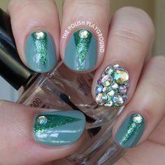 Green Color Block with Rhinestones http://thepolishplayground.blogspot.ca/2014/06/pink-princess-nails.html