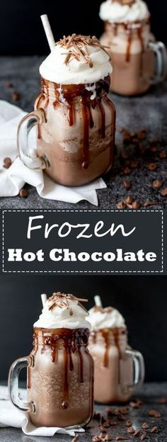 This FROZEN HOT CHOCOLATE with whipped cream, chocolate sauce and chocolate curls is the stuff hot summer days are made for!!