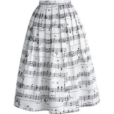Chicwish Dance With Music Notes Pleated Midi Skirt