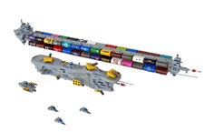 LEGO container ship and security detail.