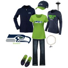 A fashion look from January 2014 featuring NIKE t-shirts, Abercrombie & Fitch jeans and NIKE athletic shoes. Browse and shop related looks. Seahawks Game Day, Seahawks Gear, Seahawks Fans, Seahawks Football, Seattle Seahawks, Seahawks Apparel, Cute Fashion, Look Fashion, A Team