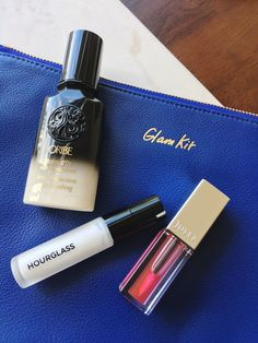Currently in my beauty rotation: Oribe Balm d'Or, Hourglass Veil Mineral Primer, and Julep Lip Oil