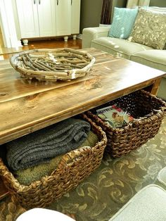 Diy Rustic Coffee Table With Storage In About 3 Or 4 Days Hometalk But Love The Baskets Underneath For