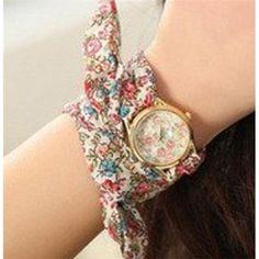 Ladies Self-Tie Yellow Gold Brown & Pink Flower Ribbon Fashion Watch SW-1244