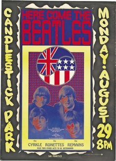 Beatles Candlestick Park Concert Poster, Program, and Ticket Group (1966)