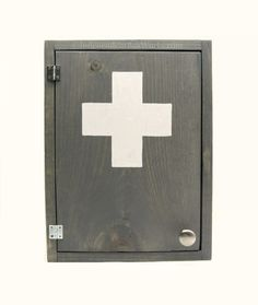 Made To Order Grey And White Medicine Cabinet   Weathered Gray First Aid  Cabinet With White