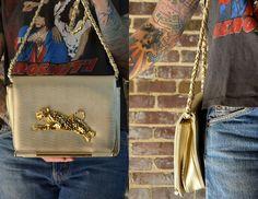 Vintage 80's Glam Gold Jaguar Handbag Purse