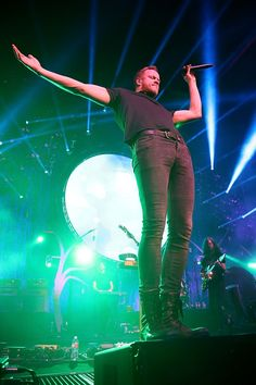 Dan Reynolds of recent GRAMMY winners Imagine Dragons lives on the edge during a performance on Feb. 20 in Austin, Texas