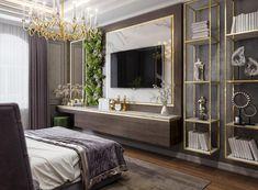 Modern Luxury Bedroom, Luxury Bedroom Design, Luxurious Bedrooms, Bedroom Tv Wall, Classic Living Room, Apartment Interior Design, Living Room Designs, Tv Unit, Home Decor Ideas