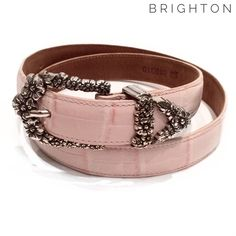"Brighton light pink faux crocodile leather belt Brighton light pink faux crocodile leather belt . This belt measures 37.75"" from end to end. In excellent condition, with very minor wear throughout. Brighton Accessories Belts"