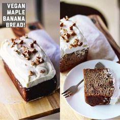 100% Vegan Maple Banana Bread with Vegan 'Cream Cheese' Icing! :)