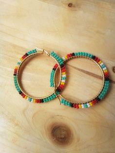 Seed Bead Jewelry, Bead Jewellery, Beaded Jewelry, Beaded Bracelets, Beaded Earrings Patterns, Diy Earrings, Hoop Earrings, Designer Earrings, Fashion Jewelry