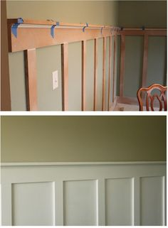 Great looking DIY board and batten wall > Rather than white, we might do oak flavor...