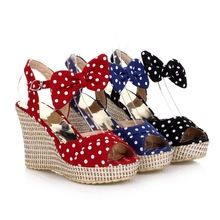 2014 New Arrival Black Blue Red Fashion Casual High Heel Platform Women Summer Wedges  Shoes Sandals L243(China (Mainland))