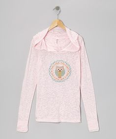 Take a look at this Pink Circle Owl Tissue Hoodie by TROO on #zulily today!