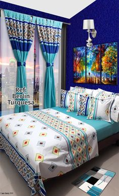 Ref: Berlín Turquesa Bed Cover Design, Designer Bed Sheets, African Home Decor, Makeup Room Decor, Sofa Covers, Kid Beds, My Room, Bedding Sets, Decoration