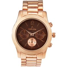 Louis Arden LA7261 Rose Gold-Tone Watch ($17) ❤ liked on Polyvore featuring jewelry, watches, gold, rose gold tone jewelry, steel jewelry, bezel watches, rose gold tone watches and steel watches