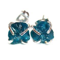 Raw Apatite Stud Earrings Organic Earrings Apatite Jewelry Free Form Earrings Apatite Earrings Apatite Prong Set Earrings Raw Gemstones