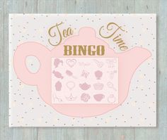 INSTANT DOWNLOAD!  Tea Party Bingo Game / Activity includes 1-bingo key and 10-Bingo Cards. This would be a fun activity to do at a party,
