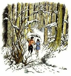 Lucy & Mr Tumnus ~ illustration by Pauline Baynes