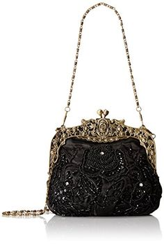 MG Collection Elaine Antique Beaded Rose Purse, Black, One Size