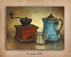 Coffee Grinder Still Life art print of oil on canvas by jamietifft http://www.etsy.com/listing/99040263/clearance-christmas-winter-santa-kitchen
