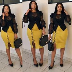 appy Tuesday everybody 💋💋💋💛💛💛🖤🖤🖤 💋 (hair credi Fashion Killa, Ootd Fashion, Girl Fashion, Womens Fashion, Fashion Ideas, Business Casual Outfits, Classy Outfits, Stylish Outfits, Business Attire