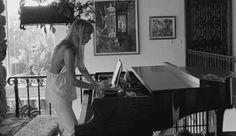 Joni Mitchell composing, 1973.