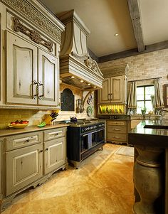 Gorgeous Kitchen  Interior Design ideas and home decor French Country hood and beamed ceiling, large island