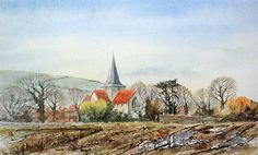 Alfriston Church, East Sussex, England. Watercolour.