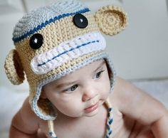 Newborn, 0 to 3 or 3 to 6 Months Baby Boy Monkey Hat, blue, tan. $26.00, via Etsy.