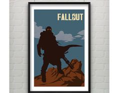 Fallout Poster 11x17 Video Game Art Inspired Minimalist Print, Silhouette Art, Video Game Poster, Fallout Print