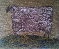 An early American sheep on a hill Rug Yarn, Wool Rugs, Primitive Sheep, Baa Baa Black Sheep, Punch Needle, Traditional Rugs, Rug Hooking, Textile Art, Goats