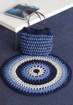 Big Ribbon or Big Ribbon Plus Crochet Mat & Bag Crochet Mat, Crochet Home, Crochet Fashion, Crochet Accessories, Clutch Purse, Lana, Ribbon, Spring Summer, Kids Rugs
