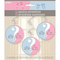 Check out Gender Reveal Hanging Swirl Decorations - Decorations & Baby Shower from Birthday In A Box