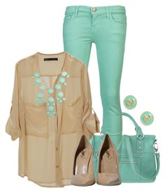 """Mint Condition"" by qtpiekelso ❤ liked on Polyvore featuring Nine West, Current/Elliott and Yves Saint Laurent"